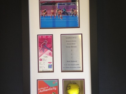 Framed Hockey Ball & Olympic Team Memorabilia