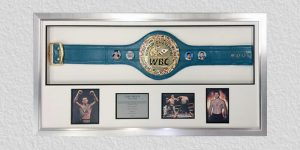 world champion belt framed