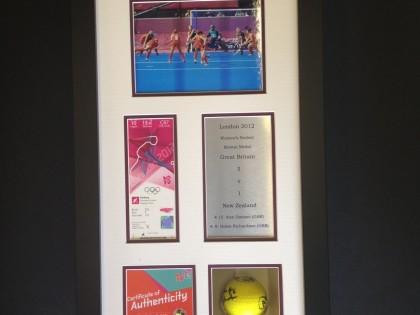 Framed Hockey Ball & Olympic Team Memorabilia
